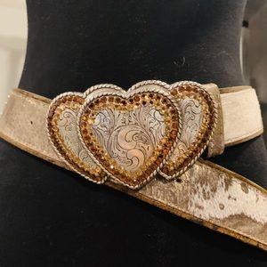 Leatherock brown heart belt